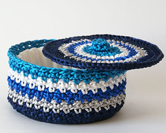 Satin Cord Crochet Basket in Silver and Blues (Lissabee Creations) Tags: blue silver cord basket turquoise stripes crochet bowl storage container round satin homedecor lid rattail satincord satinrattailcord