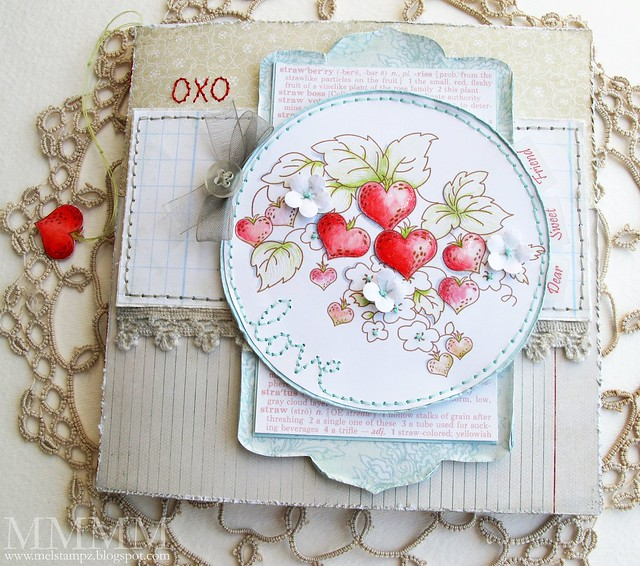 notebook by mel stampz using strawberry hearts img by Tiffany Doodles