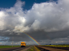 cloudburst (365-69) (Robert Couse-Baker) Tags: california clouds rainbow schoolbus sacramentovalley