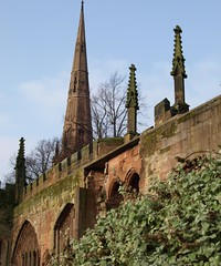 Old Coventry Cathedral (Tony Worrall) Tags: old city uk england church stone ruins central spire forgotten coventry blitz westmidlands abandonned relic midlands olden coventrycathedral bygone stmichaelstheoldcoventrycathedral