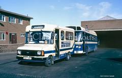 Hartshill Garage, Brierley Hill, West Midlands, 1989 (Lady Wulfrun) Tags: travel garage transit 1989 westmidlands carlyle minibus brierleyhill hartshill wmt leylandnational minibuzz hartshillgarage b57aop 13may89 9180s