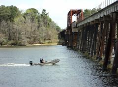 Through Truss Railroad Bridge, San Jacinto River, Crosby, Texas 0312111221 (Patrick Feller) Tags: railroad bridge train boat kayak texas steel kayaking through crosby truss harriscounty sanjacintoriver pontist