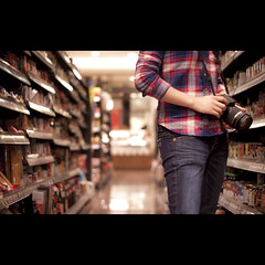 198/365 Shopping for Inspiration (brandonhuang) Tags: light girl shirt canon lens rebel lights dof market bokeh super supermarket aisle jeans grocery dslr tamron 550d t2i brandonhuang