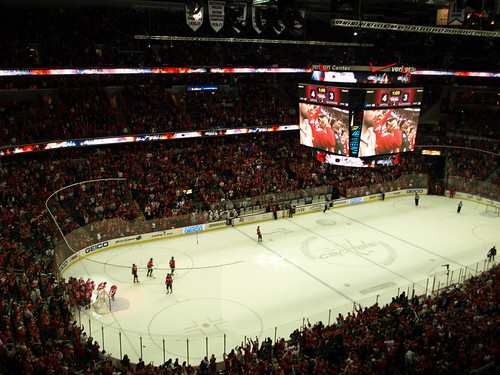 Washington Capitals mob Mike Knuble after his game winning, overtime goal over the Chicago Blackhawks