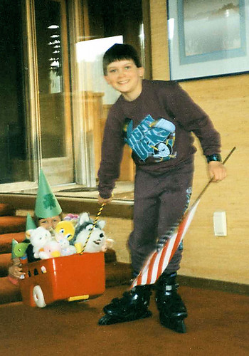Will (almost 11) helping Christina (almost 6) with her St. Patrick's Day parade, 1996.