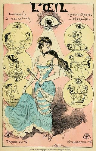005-Poliza de la compañia de seguros conjugales EL OJO-La grande mascarade parisienne 1881-84-Albert Robida
