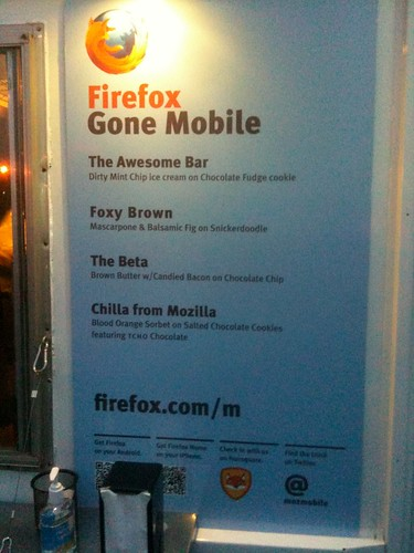 Firefox Mobile Ice Cream Truck Menu