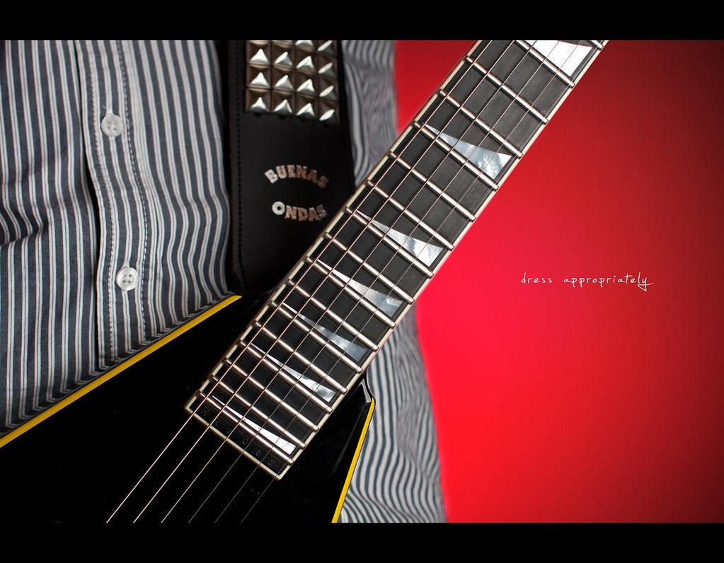 Day 225, 225/365, Project 365, Strobist, dress appropriately, close up, jackson guitars, shirt, guitar strap, sharkfin inlays, Sigma 50mm F1.4 EX DG HSM, 50mm, westcott apollo softbox
