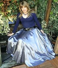 Silver Satin (Amber :-)) Tags: long full silver satin skirt tgirl transvestite crossdressing