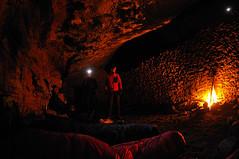 Our cave for the night.... (JanAnneO) Tags: camp moon spain nikon europe catalonia fisheye campfire cave catalunya headlamp sleepingbag 1635 d3s