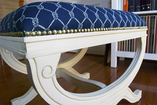 Home Goods Nautical Upholstered Stool 4