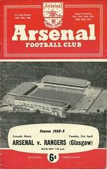 Arsenal v Rangers 19590421 (tcbuzz) Tags: england london club scotland football glasgow friendly highbury rangers arsenal programme