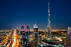 The Veins Of Dubai #6 (DanielKHC) Tags: road blue light sunset urban night digital reflections landscape lights high nikon long exposure dubai cityscape view traffic dynamic dusk towers uae trails aerial clear zayed khalifa hour veins range sheikh dri hdr burj blending d300 tamron1750mmf28 danielcheong danielkhc gettyimagesmeandafrica1