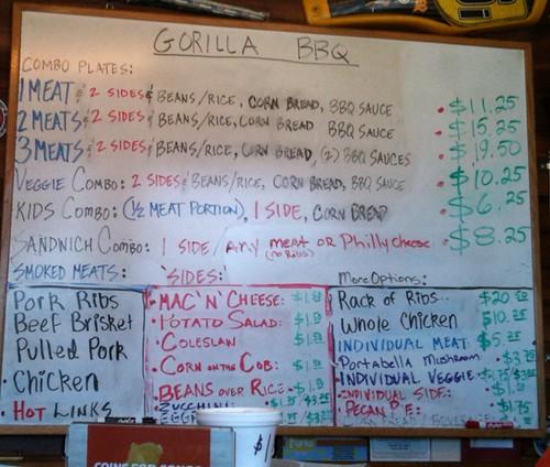 gorilla bbq menu