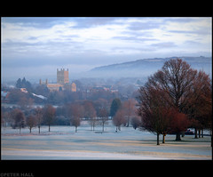 Morning Has Broken (peterphotographic) Tags: uk england cold church abbey sunrise dawn frost cathedral britain gloucestershire tewkesbury tewkesburyabbey canong12