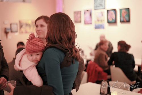 this baby was so cute, bundled up at the art show