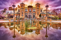 Plaza de America. Sevilla. Tercera version. (Z Snchez) Tags: parque color reflection art water photo sevilla spain agua photographer arte fuente surreal seville reflejo mystical hdr parquedemarialuisa plazadeamerica     jpa001 hdrspotting zusanchez editorspick