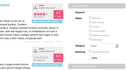 View of how users can search for ideas