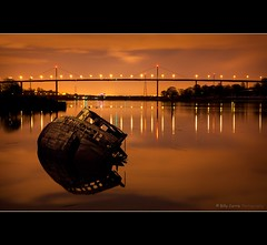 Final Mooring (Billy Currie) Tags: old bridge night scotland clyde boat wooden ancient ship peaceful calm og shipwreck zen aground wreck derelict sodium span strathclyde coastuk welcomeuk