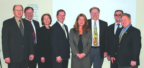 (From left) Rob Myrben, Southwest Airlines' vice president of fuels management, Steve Barker, Air Transport Association's director of technical fuel services and standards, Crystal Harmon, program specialist from the Ohio Aerospace Institute, Don Majcher, vice president of technology innovation programs for Ohio Aerospace Institute, Patty Huddle, Ohio Department of Development, Richard Altman, executive director of CAAFI, Chris Cassidy, USDA Washington DC and Tony Logan, Rural Development state director, were key organizers and presenters during the Ohio Alternative Aviation Fuels Forum.