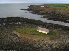St Cwyfan's Church, near Aberffraw, Anglesey [3] (->>Hamish) Tags: beach church wales island bay aerial kap islet causeway 2011 st llangwyfan aberffraw ancient china sea church photograph kite isle irish porth anglesey cwyfan