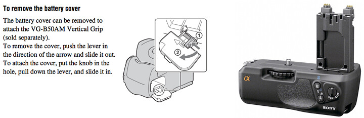 Instructions for attaching the Sony VG-B50AM Battery / Vertical Grip in the Sony A580 Manual