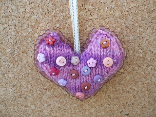 knitted heart bag charm