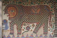 Madhubani painting, Bihar (jepoirrier) Tags: india museum painting delhi tiger ghar tribal bihar madhubani goshain