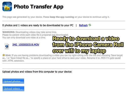 iPhone Video Transfer over Wifi