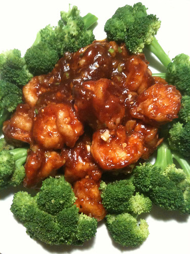 "Ebi chili"", or fried shrimp in garlic and chili sauce…"