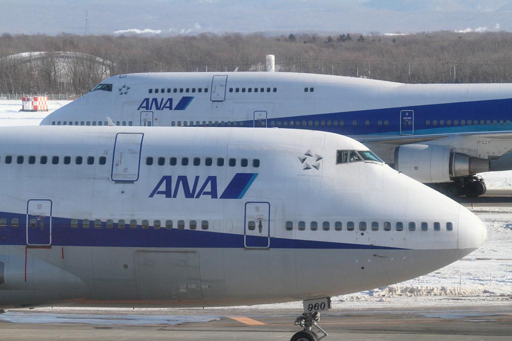 Two ANA's B747-400D @RJCC