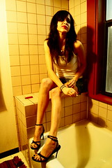 marina (lost_Velvet) Tags: hot color skinny bathroom cigarette smoking jeans cig heels thin miniskirt wifebeater rexi