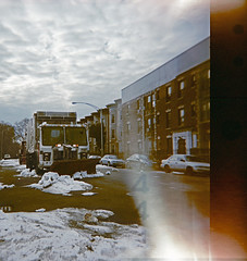 Newkirk Ave. & 17th St. (Plow/4) (BSH Shooter) Tags: park street light 3 snow tlr film up brooklyn truck holga xpro garbage fuji cross iii clean plow process removal avenue leak exposed 17th sanitation rdp newkirk ditmas