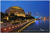 singapore (fiftymm99) Tags: mall river shopping lights hotel flyer singapore waterfront theatre side esplanade durian singaporeriver marinabay helixbridge nikond300 fiftymm99 gettyimagessingaporeq1