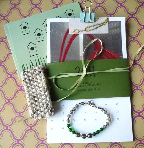 Calendar, Knit Cuff, Knotted Bracelet & Card