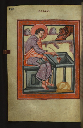 Illuminated Manuscript, Gospels of Freising, Evangelist Portrait of Mark, Walters Art Museum Ms. W.4, fol. 90v by Walters Art Museum Illuminated Manuscripts