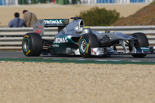 Rosberg in his Mercedes under the Jerez sun