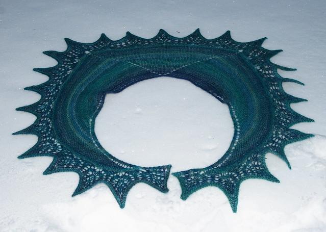 Shawlette - Handspun BFL, Royal Blue & Turqouise IMG_4394