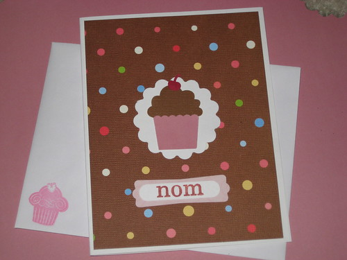 day 12: nom chocolate cupcake notecard