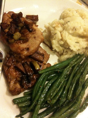 Pork chops, apples, green beans and rosemary garlic mashed potatoes