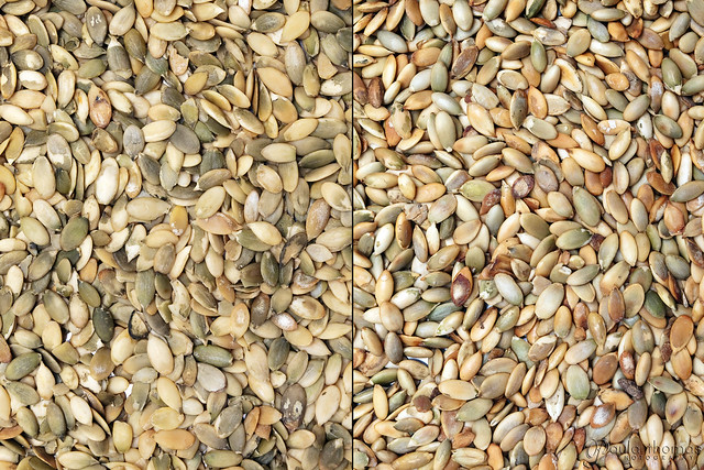 Raw and Toasted Pumpkin Seeds