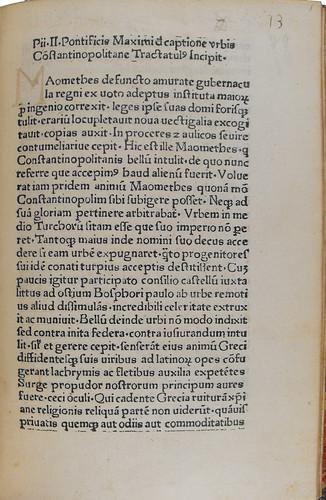 Manuscript numbering in Pius II: De captione urbis Constantinopolitanae