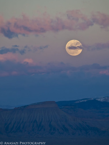 Snow Moon Over Mount Garfield