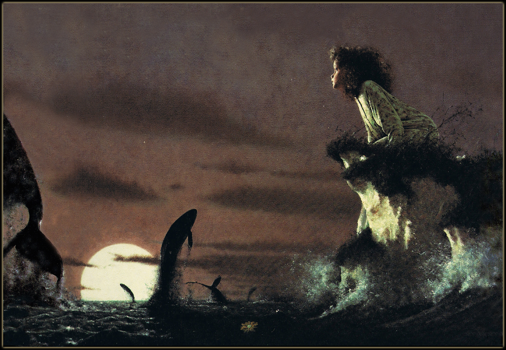 Gary Blythe, The Whales' Song, They leapt and jumped and spun across the moon, 1990