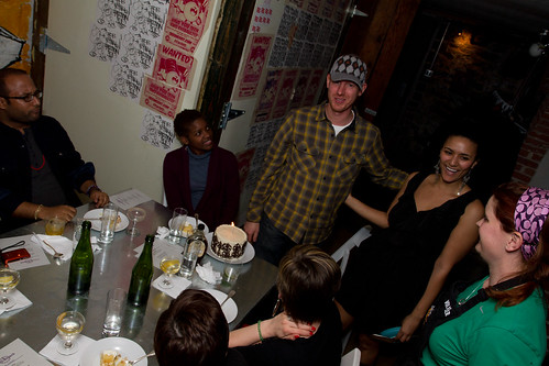 We surprised the owner of our venue, Jonathan, with a birthday cake. His birthday was Sunday.