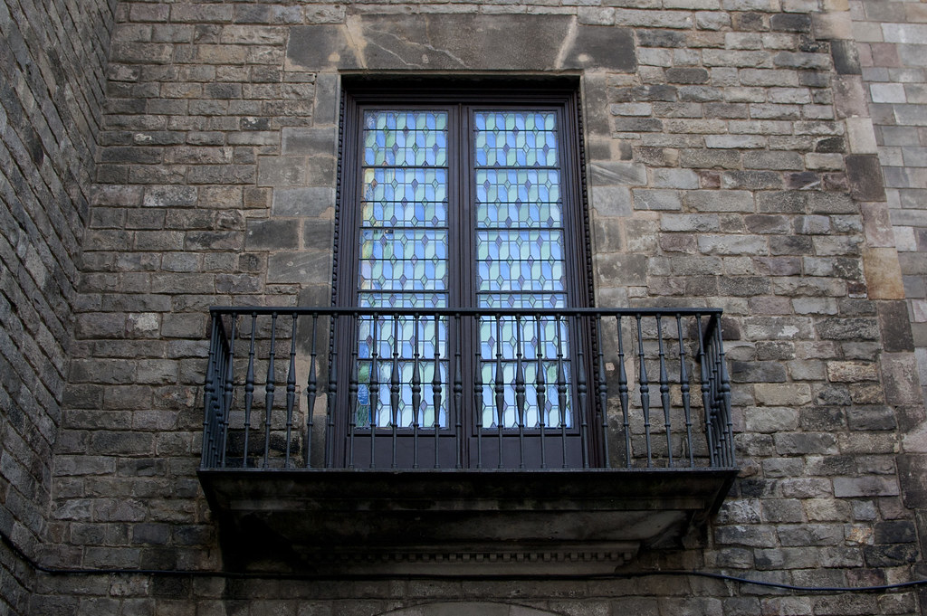 Balcony at one of the Cases dels Canonges in Carrer de la Pietat, gothic quarter, Barcelona