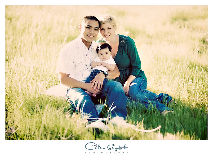 vintage family portrait on tall grassy hill