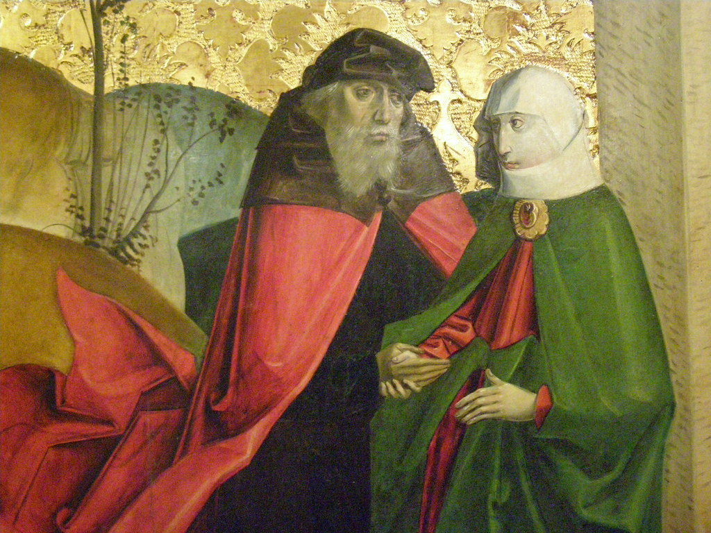 The Encounter of St Joachim and St Anne at the Golden Gate, 1493-1494, detail