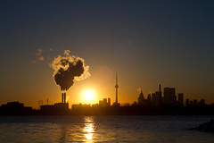Toronto Sunset, Canon 7D Body with a Nikon e Series Lens (Christopher Brian's Photography) Tags: winter sunset toronto ontario canada colour cntower manual lakeontario nikkor thebeach ashbridgesbay adaptor nikonlens nikonseriese canoneos7d