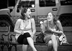 Hilarious (Wizimir) Tags: city people blackandwhite bw food woman smile female laughing person cuisine blackwhite women europe emotion feminine streetscene human icecream laugh slovakia concept diet emotional activity conceptual emotions bratislava humanbeing humans activities concepts humanbeings foodandnutrition dairyproducts womanly 14000000 14024000